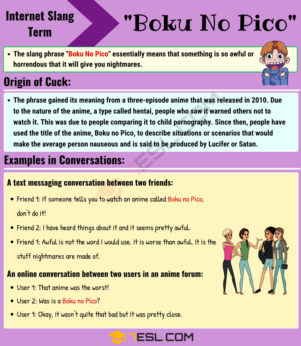 Boku No Pico Meaning: What Does This Interesting Slang Term Mean? - 7 E S L  | Slang phrases, Meant to be, Boku no pico