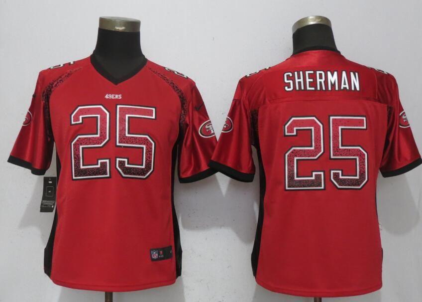 finest selection 26f63 146ca Nike 49ers 25 Richard Sherman Red Women Drift Fashion Jersey ...