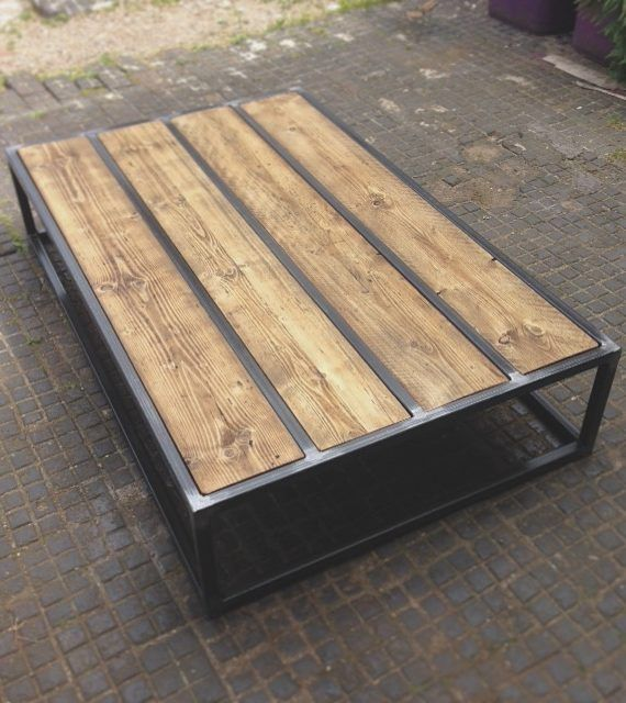 dumont brickmaker s coffee table industrial design on stunning wooden metal coffee table id=25922