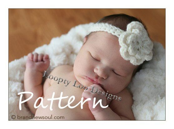 Crochet Pattern Quinn Headband Baby Girl Crocheted Flower