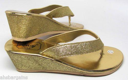 bd66090c61eee Eva Wedge Glitter Flip Flops Thongs Sandals Black Silver Pink Gold Sz 6 11