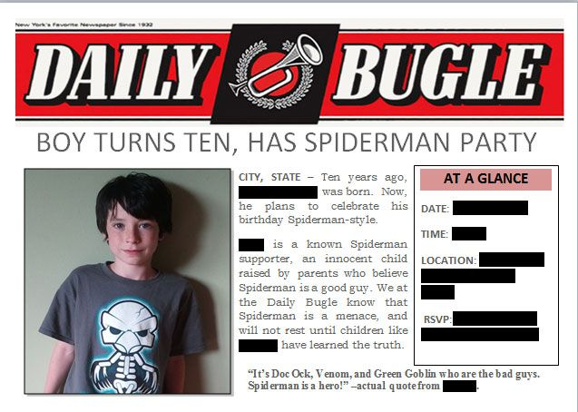 Diy Spiderman Birthday Party Invitation Downloaded A Newspaper