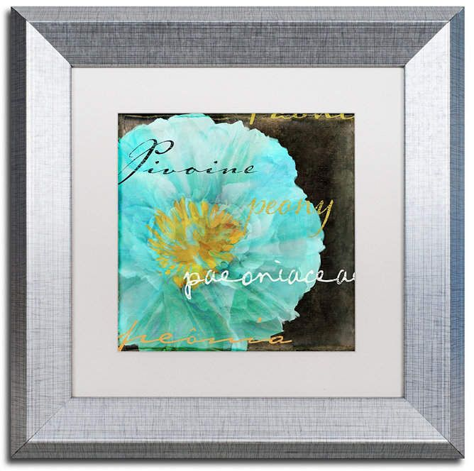 Color Bakery 'Blue Peony Dark' Matted Framed Art, 11 x 11 #bluepeonies