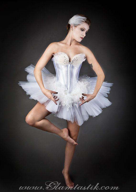 5f5fcf211 Custom Size White Swan Ballet costume Burlesque tutu by Glamtastik ...