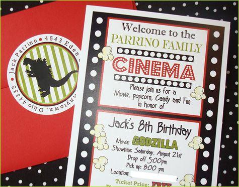 REAL PARTIES Godzilla Movie Night Party invitations, Movie and - movie ticket invitation template free printable