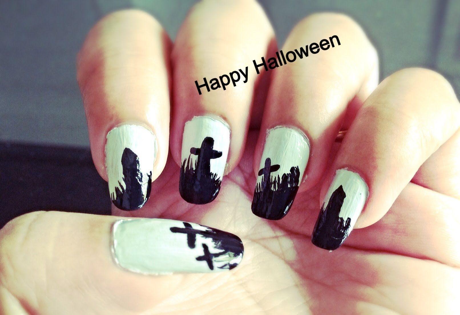 Graveyard design Easy Halloween Nail Art | Nail Art Video Tutorials ...