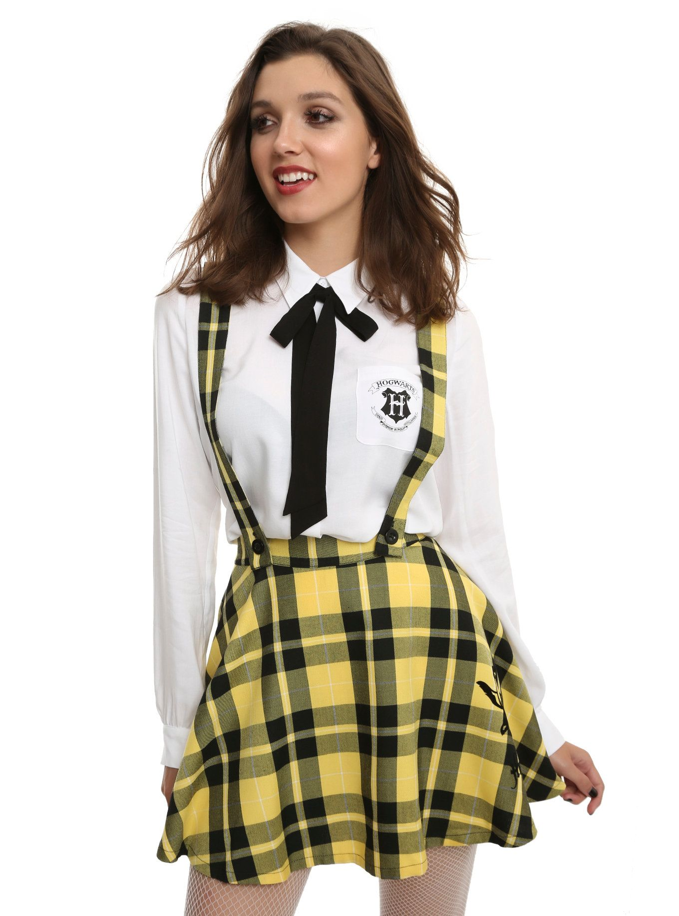 3ecaec1a65 This Hogwarts school skirt is anything but! In the colors of Hufflepuff,  this yellow plaid skirt features a flocked Hufflepuff badger and has  removable ...