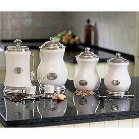 White And Stainless Canisters Kitchen