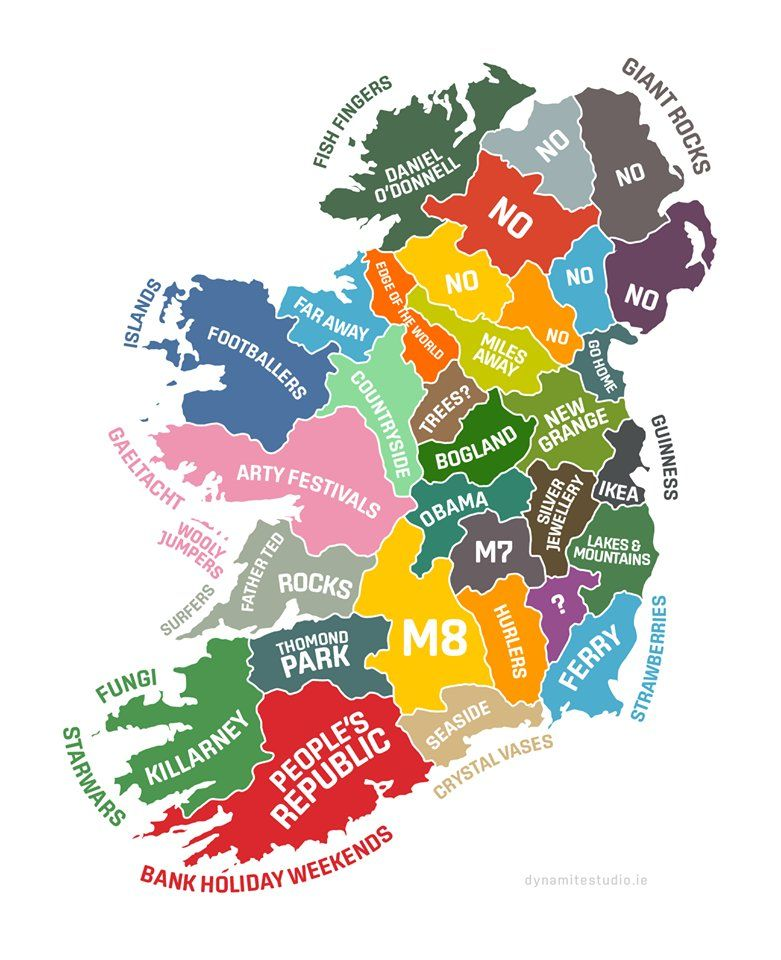 Map With Counties Of Ireland.Stereotypical Map Of The Counties Of Ireland Entire Island But