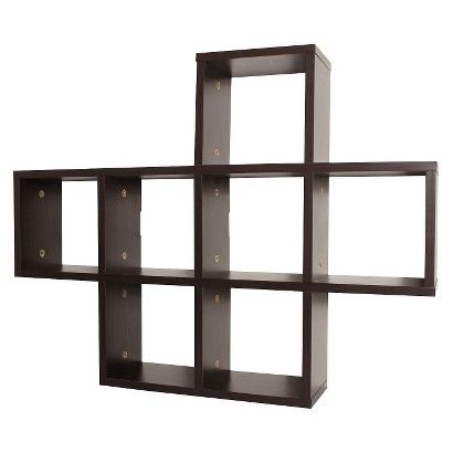 Display Shelf Espresso Brown Contemporary Shelving