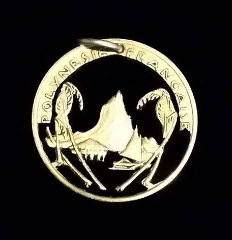 French Polynesian cut coin pendant brass