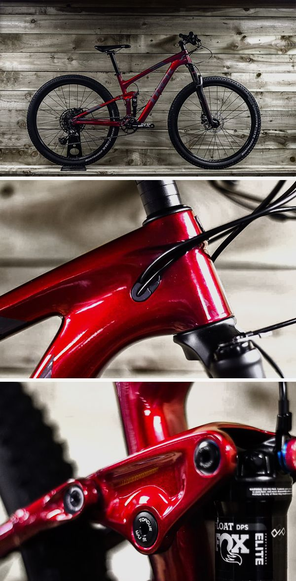 Trek S No1 Cross Country Race Bike Looking Exceptional In This Rage Red Paint Scheme An Excited Owner Awaits This Super Light Full Suspensi Mtbikes Cross