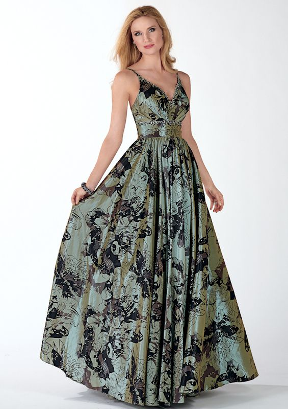 Vintage Style Prom Dress in Soft Black and Sage Print 5437