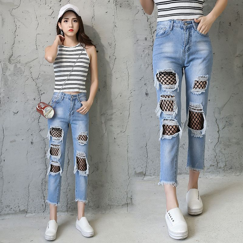 cb97c662 Spring New casual Jeans Women Ankle-Length High Waist Loose Jeans Female Ripped  hole fishnet patchwork denim pants Plus Size -- AliExpress Affiliate's Pin.