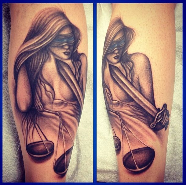 Lady Justice Tattoo I Have :) #police #ladyjustice #tattoo