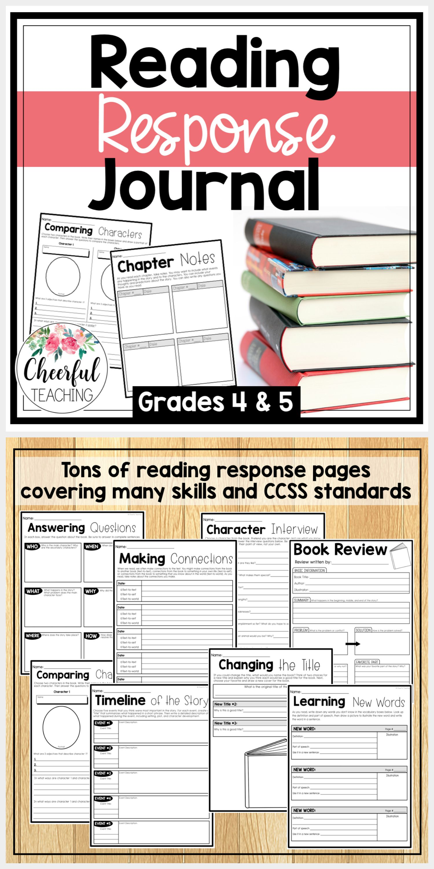 Reading Response Journal for grades 4-5. Includes tons of reading response  worksheets an…   Reading response journals [ 3000 x 1500 Pixel ]