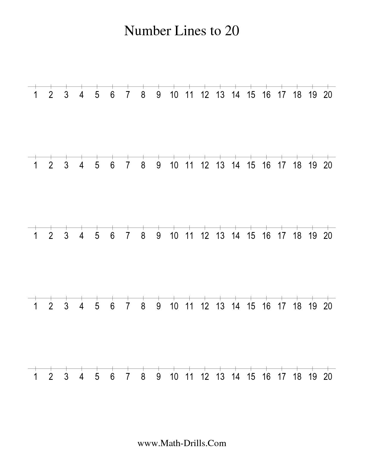 The Number Line To 20 Counting By 1 1 Math Worksheet From The Number Sense Worksheets Page At