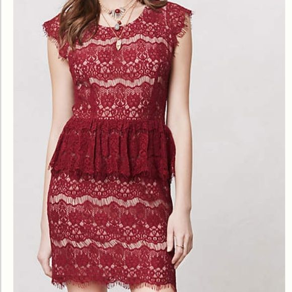 Elsa Peplum Dress by Maeve Anthropologie burgundy lace peplum dress, size small Anthropologie Dresses Mini