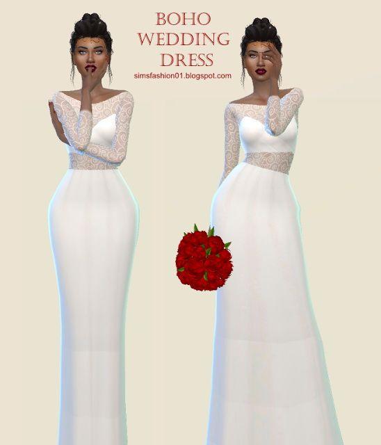 boho wedding dress at sims fashion01 via sims 4 updates | sims 4