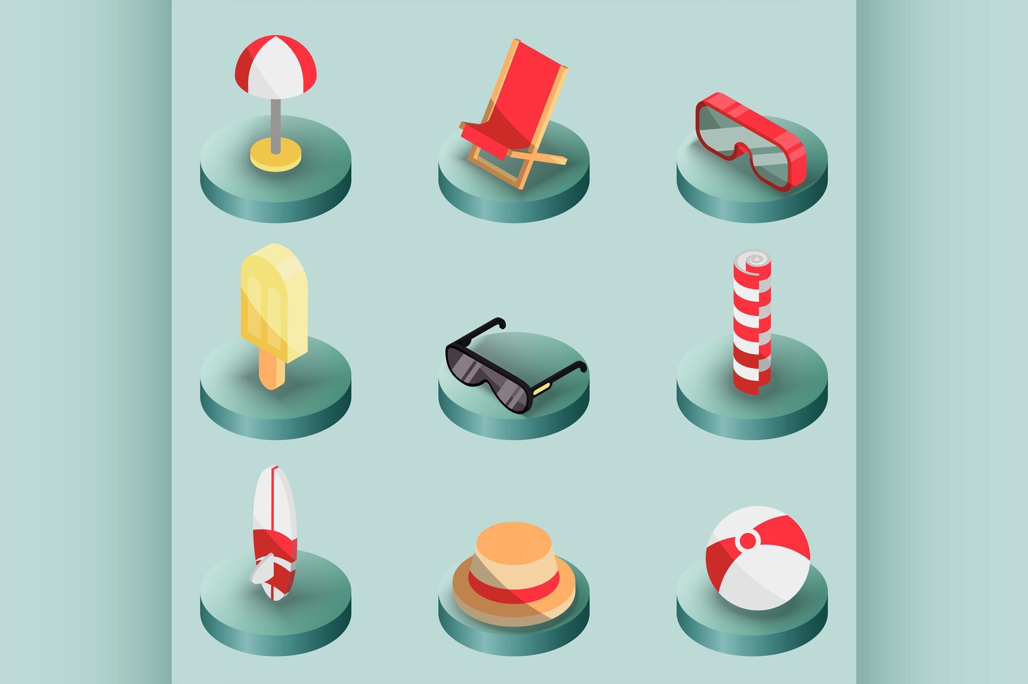 Beach outline isometric icons By Netkoff