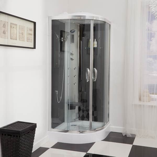 900 Quadrant Steam Shower Cabin with 6 Body Jets Shower