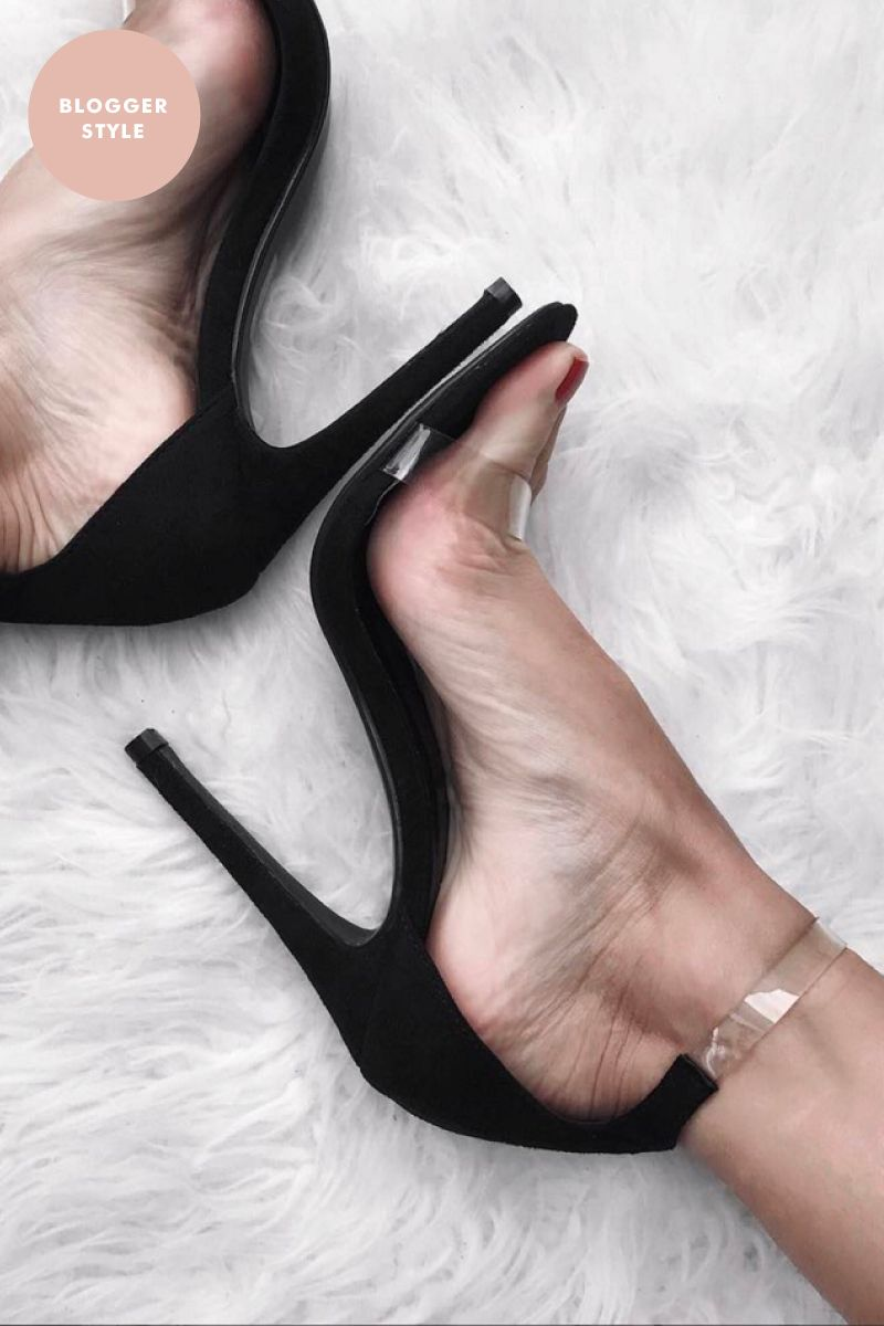 Rakel Black Velvet Clear Strap Heels