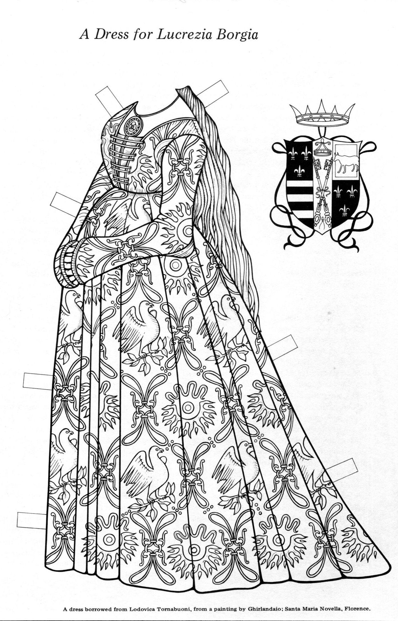 A Dress For Lucrezia Paper Dolls Coloring Books Paper