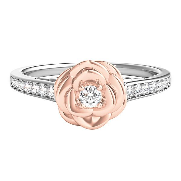 Enchanted Disney 1 5 Ct Tw Diamond Belle Rose Ring In Sterling Silver 10k Rose Gold Pearl And Diamond Ring Bridal Jewelry Sets Jewelry