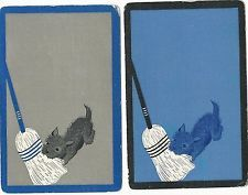 Dogs -- set of 2 linen  ---   single vintage swap playing cards H