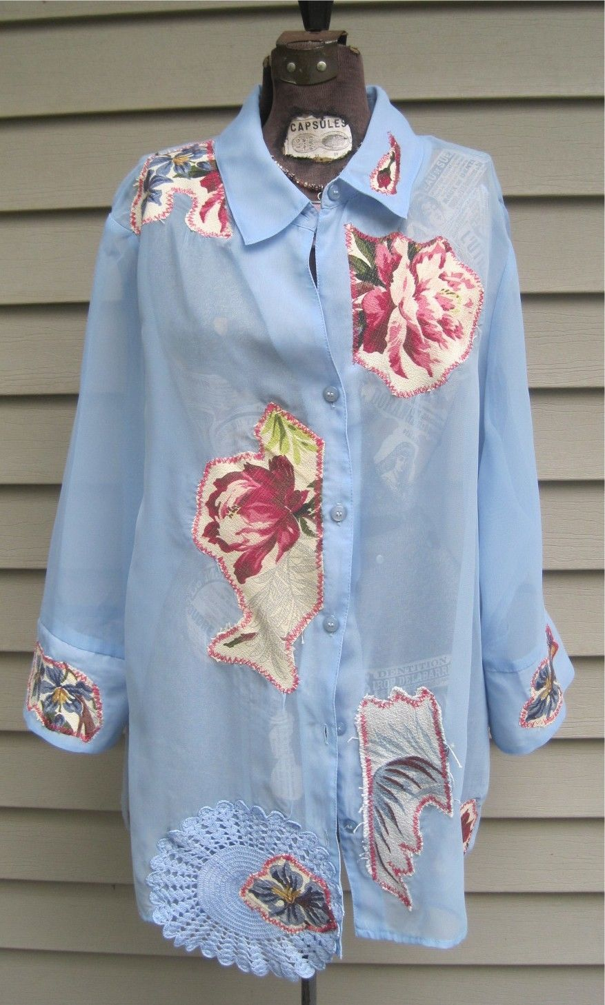 Recycled Women s 18W 20W Periwinkle Blue Chiffon Artsy Shabby Chic  Lagenlook Indie Peasant Blouse. Measures 31