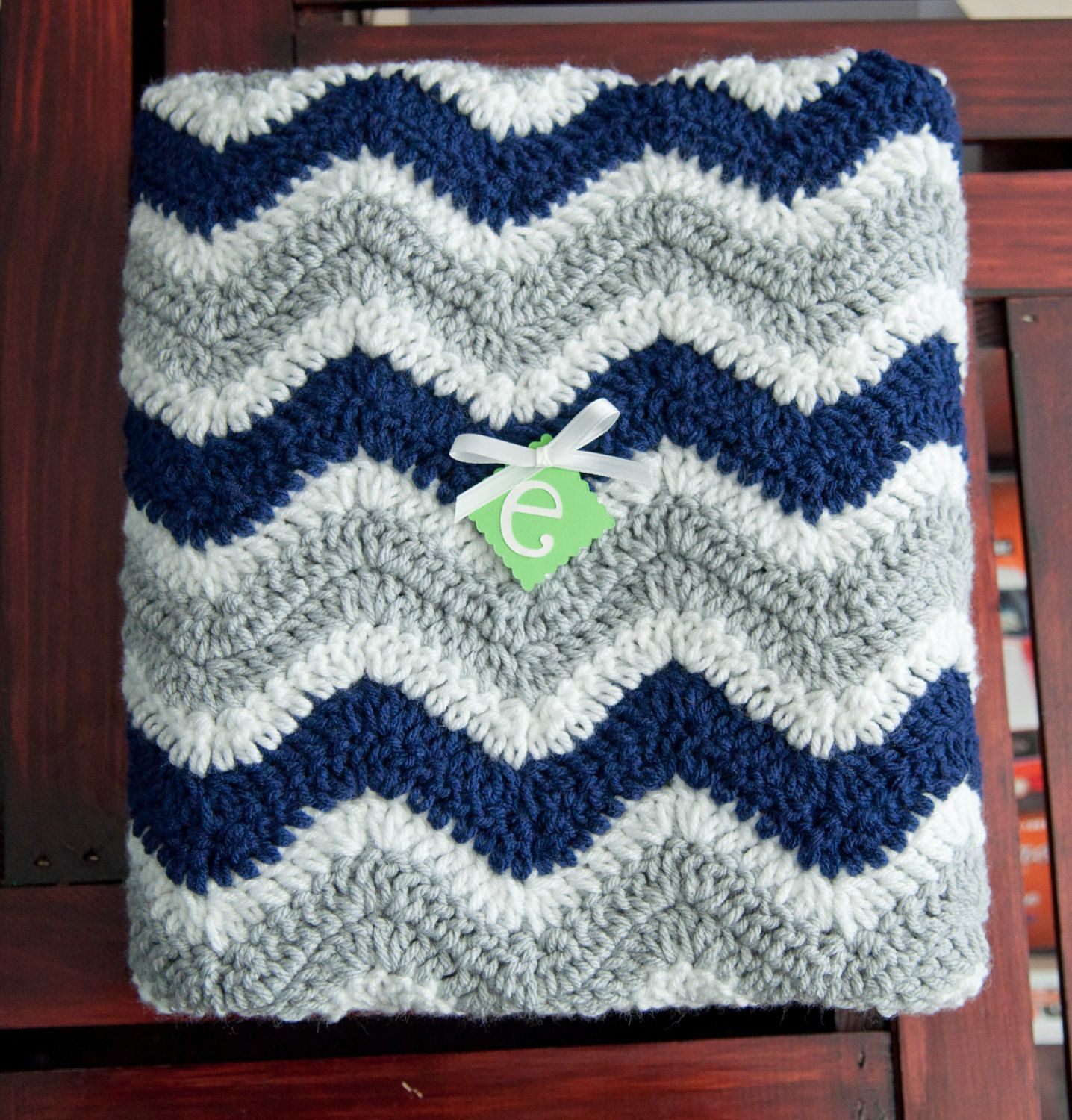 Navy Gray and White Chevron Striped Baby Afghan by ErinLynnDesigns ...