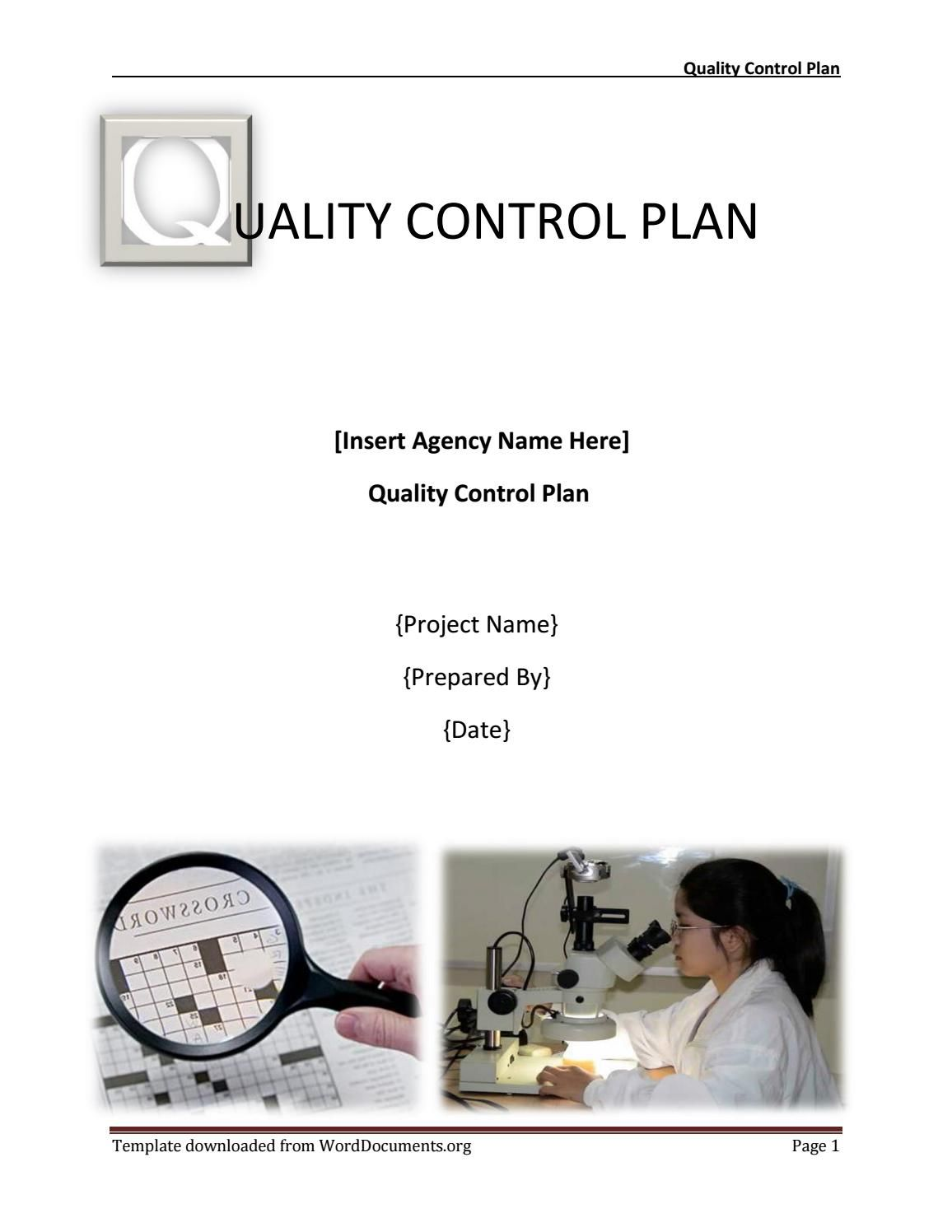 Quality Control Plan Template How To Plan Templates Website