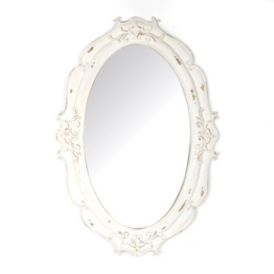 Vintage White Oval Decorative Mirror Kirkland S Vintage Bathroom Mirrors Mirror Decor White Bathroom Mirror