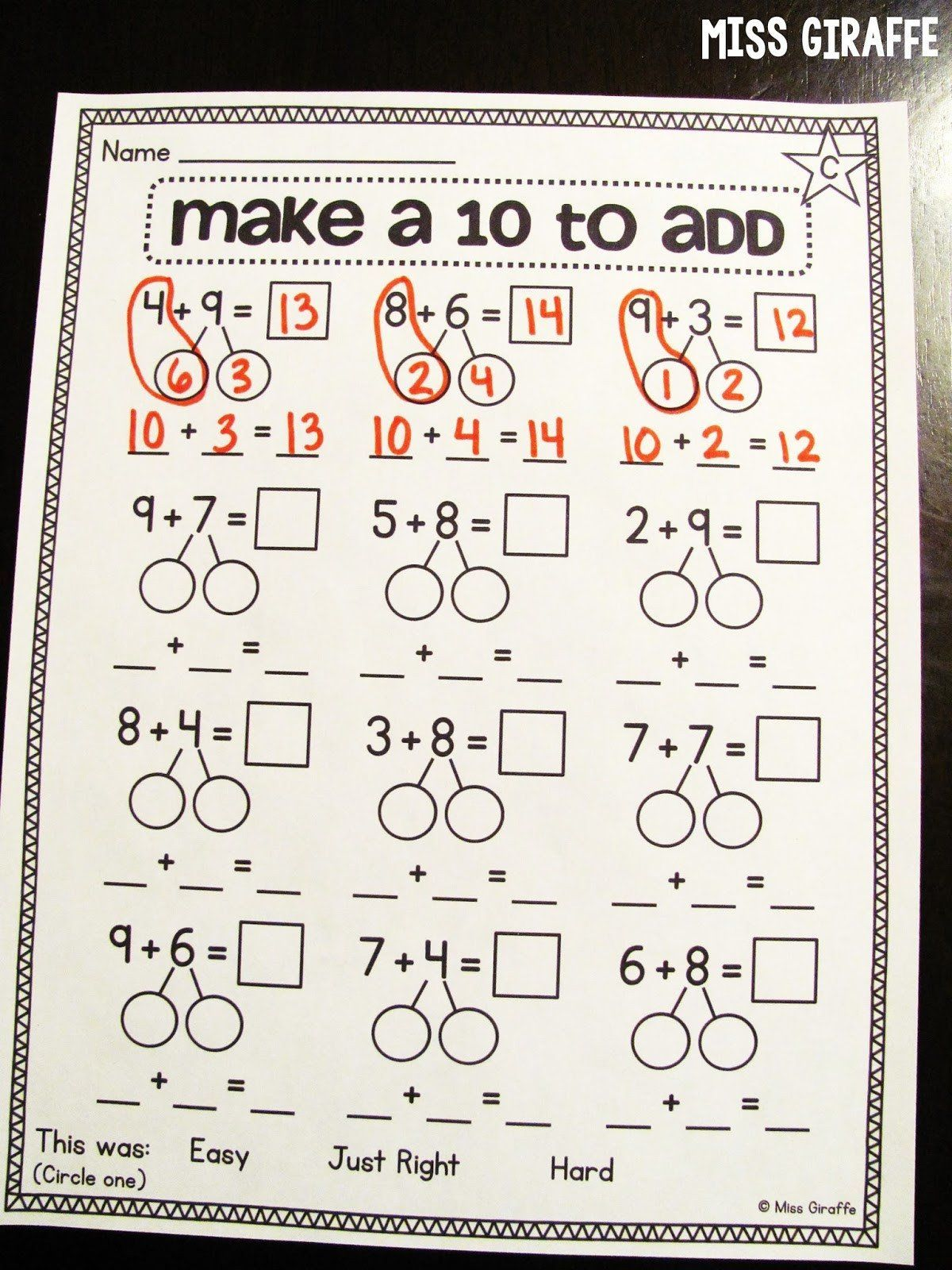 Kindergarten Decomposing Numbers Worksheets Miss Giraffe S