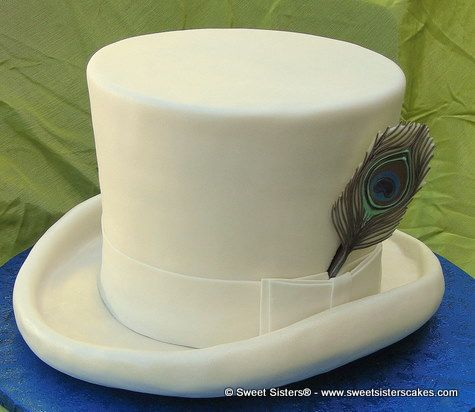 Classic white top hat cake