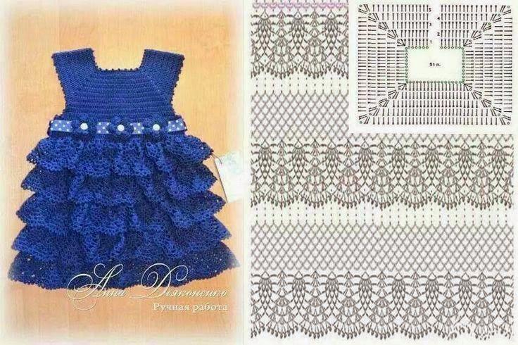 Vestido de nena con volados | Crochet y Dos agujas | Crochet-Clothes ...