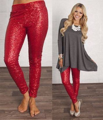 759ac98620dfd Holiday Red Sequin Leggings | My Fashion & Style | Sequin leggings ...