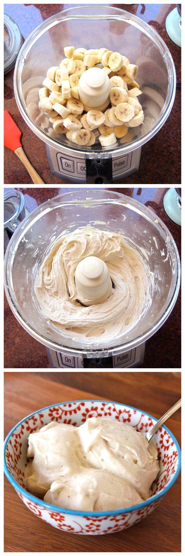 "Banana Soft Serve - Recipe for One-Ingredient Food Processor Banana ""Ice Cream"" - Creamy All Natural Dairy Free Dessert"