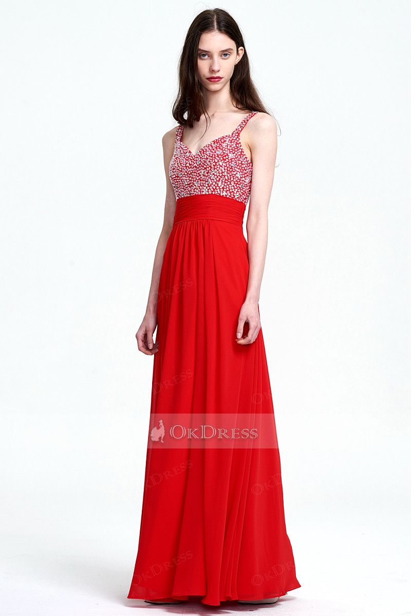 Gorgeous aline vneck long prom dress with beaded top by okdress