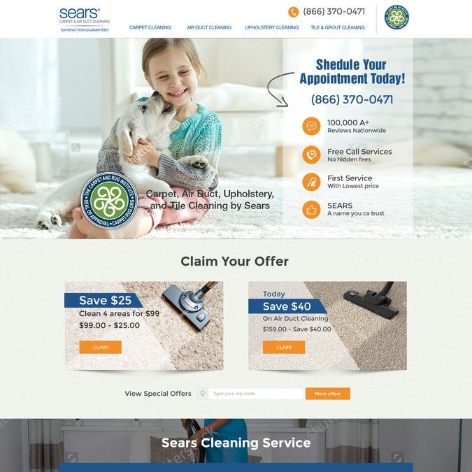 Create A New Landing Page For Carpet Cleaning Franchise By Idea Dotcom Cleaning Franchise Duct Cleaning Garage Doors For Sale
