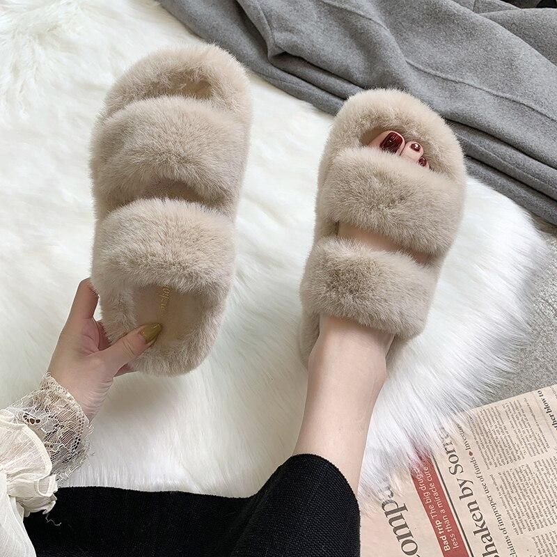 Photo of Winter Women House Fuzzy Slippers Faux Fur Fashion Warm Shoes Woman Slip on Flats Female Furry Slide