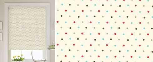 Cream Roller Blind With Colourful Polka Dot Design In Shades Of Red, Blue  And Brown