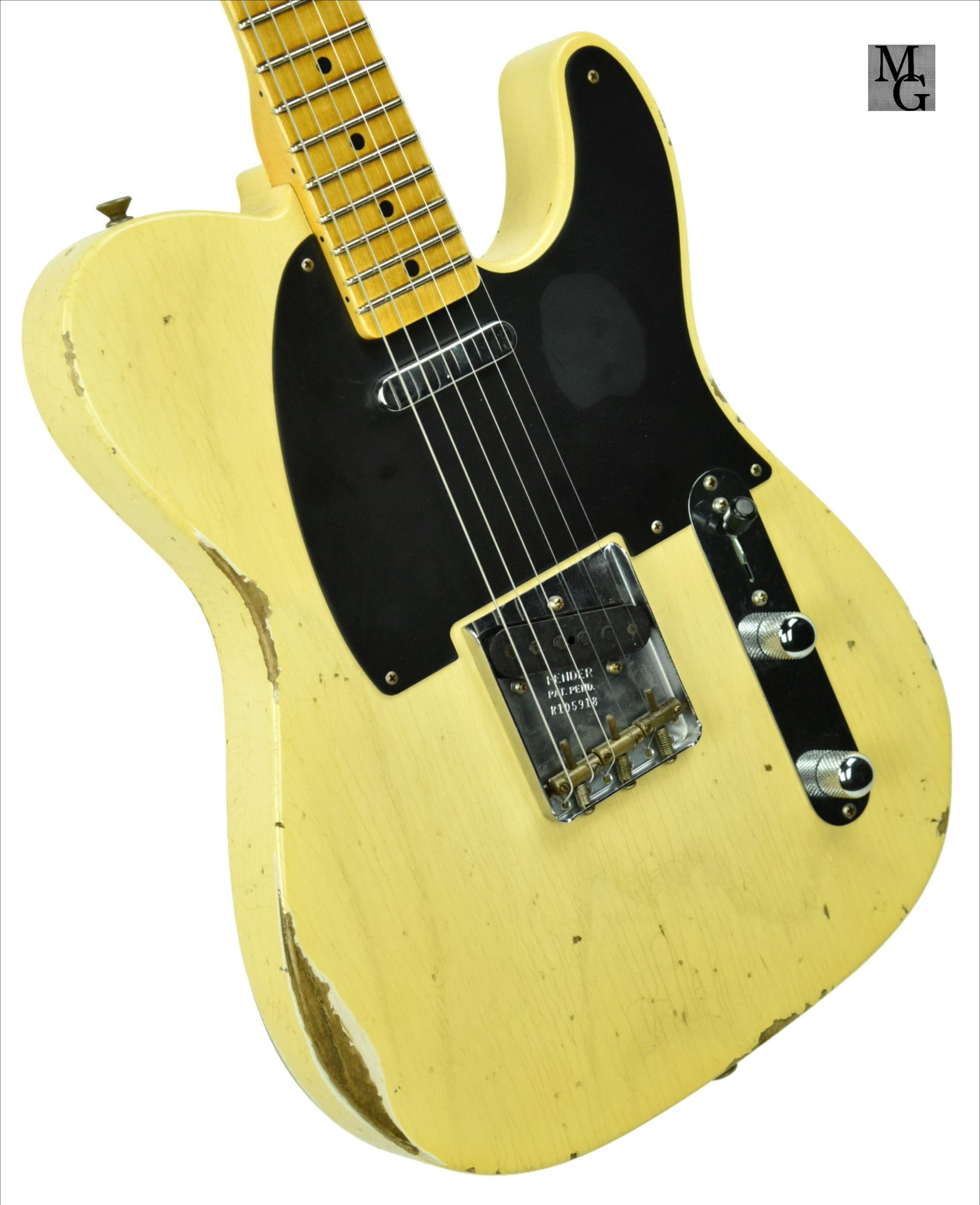 Fender Custom Shop 50s Telecaster Relic 1 Piece Ash In Faded Nocaster Blonde R105918 Telecaster Fender Custom Shop Vintage Telecaster