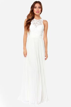 46c97699 The top part is made of sequins. Bariano Light of Day Off White Sequin Maxi  Dress at LuLus.com!