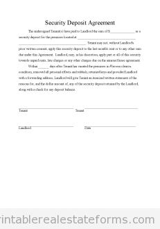 Sample Printable Security Deposit Agreement  Form  Printable