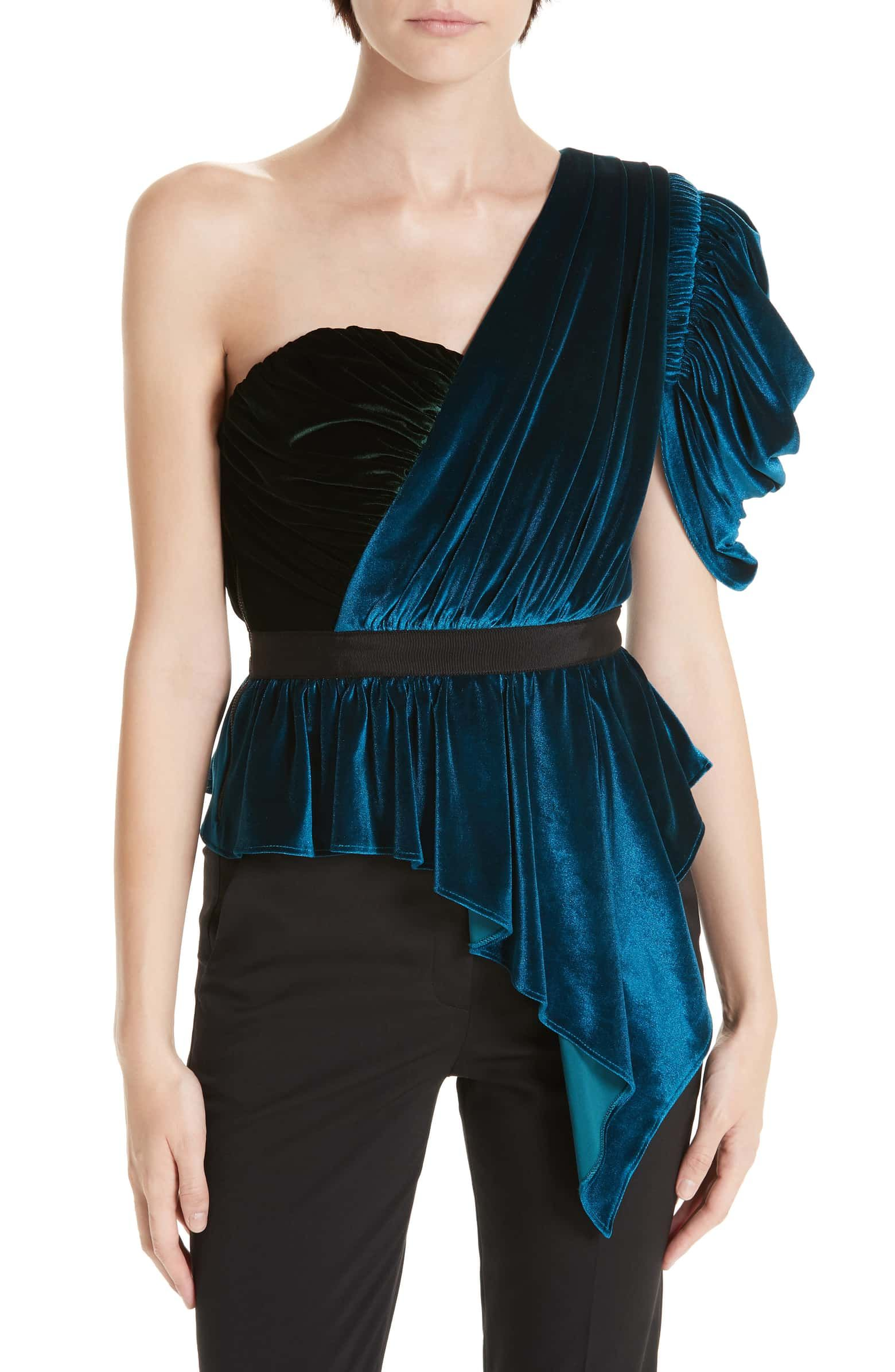 d46a2f148576d Bicolor One-Shoulder Velvet Top