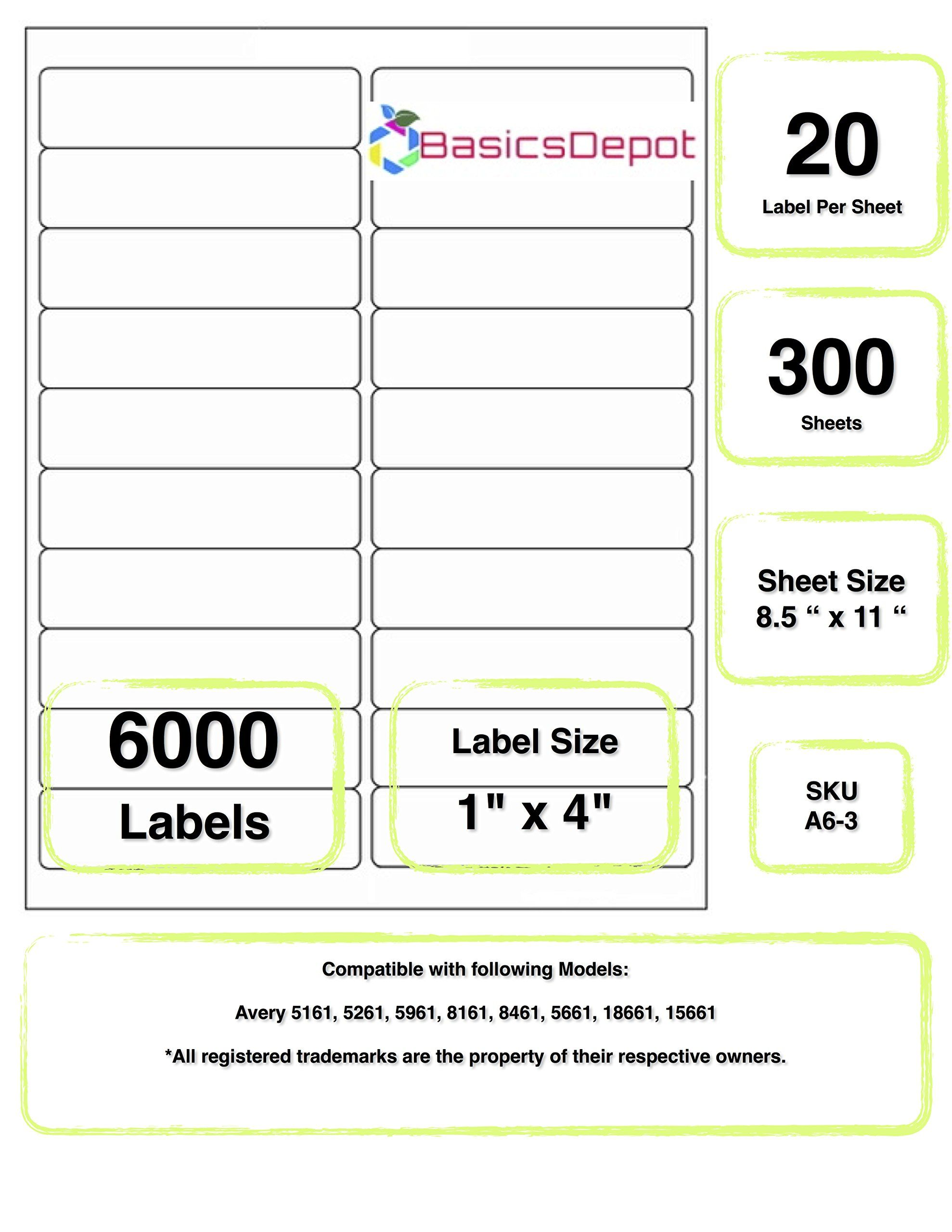Avery 5161 Compatible 4 X 1 Inch Label Same Size As Avery 5161 20 Label Per Sheet 300 Sheets 6000 Labels By Basicdepot Awesom Labels Avery Compatibility