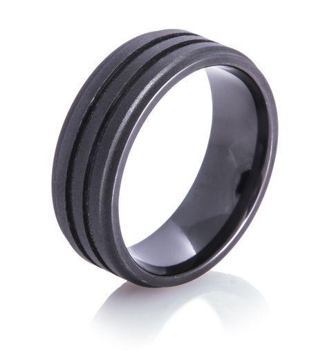 Dual Groove Matte Black Ring