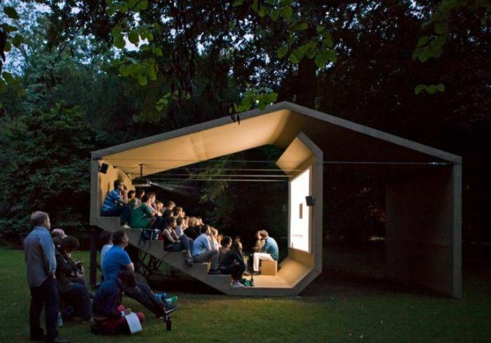 open air kino kreative gartenideen freiluft kino decke stimmung soundsystem kabine