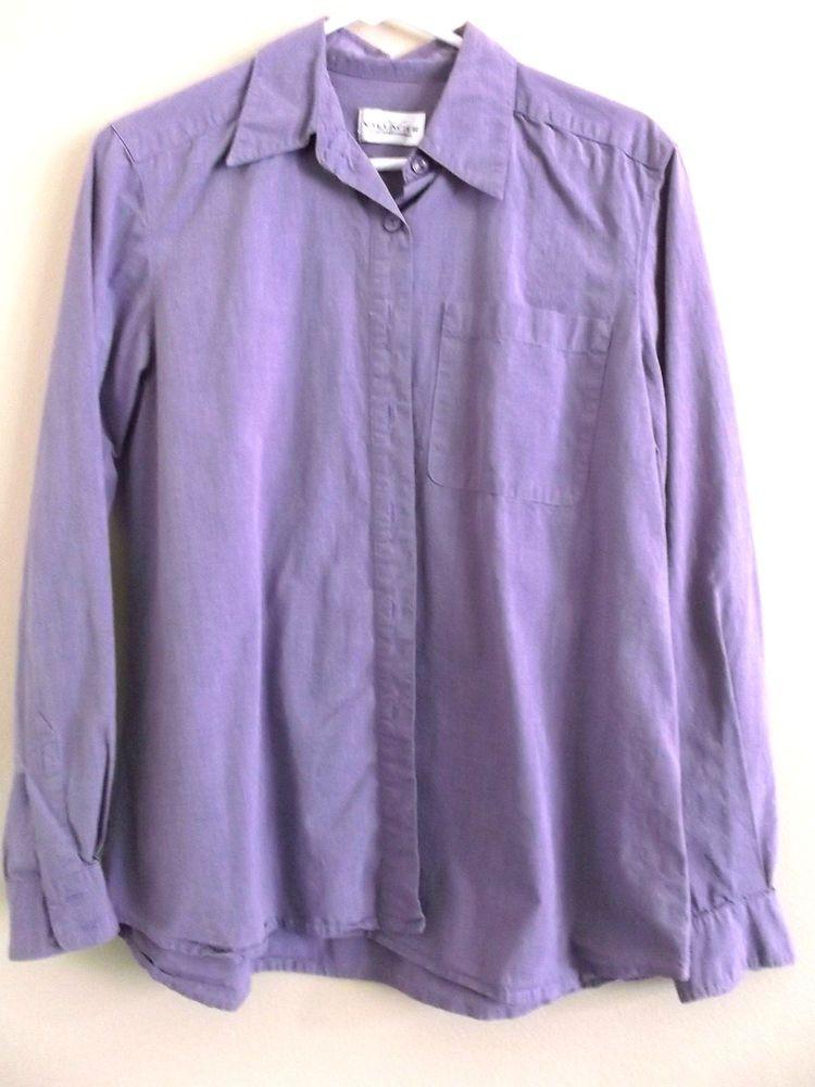 Women S Villager Long Sleeve Button Down Shirt Blouse Lavender Size
